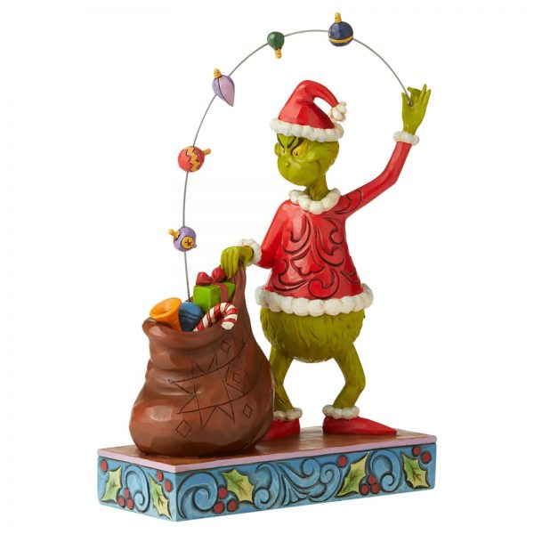 The Grinch by Jim Shore Grinch Juggling Ornaments Into A Bag Figurine 22cm