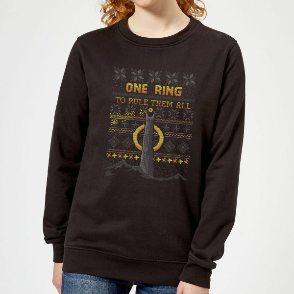 The Lord Of The Rings One Ring Women's Christmas Sweater in Black - XS - Black