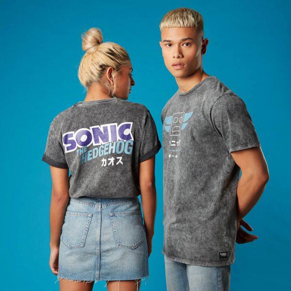 Totem Pole Sonic the Hedgehog Unisex T-Shirt - Black Acid Wash - XS - Black