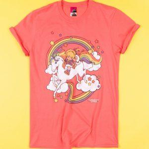 Women's Coral Rainbow Brite Clouds Rolled Sleeve Boyfriend T-Shirt