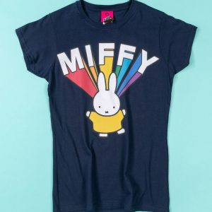 Women's Miffy Rainbow Name Navy Fitted T-Shirt