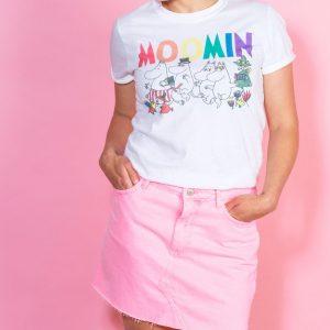Women's Moomins Rainbow Logo White Boyfriend Fit Rolled Sleeve T-Shirt