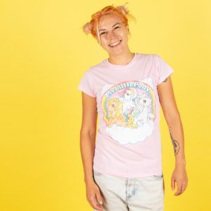 Women's My Little Pony Cloud Scene Light Pink Fitted T-Shirt