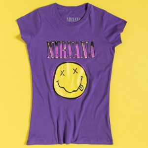 Women's Purple Nirvana Smiley Fitted T-Shirt