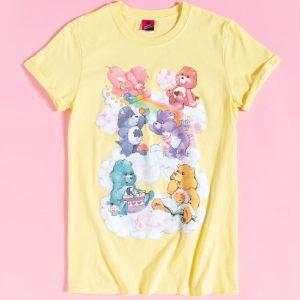 Women's Yellow Care Bears Sweet Treats Clouds Rolled Sleeve Boyfriend T-Shirt