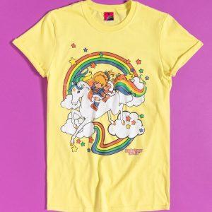 Women's Yellow Rainbow Brite Clouds Rolled Sleeve Boyfriend T-Shirt